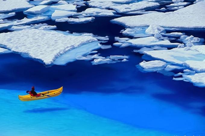 berdayung santai di laut Arktik yang sejernih kristal (tapi dingiiinn)